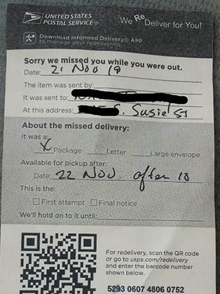 アメリカの郵便物不在届