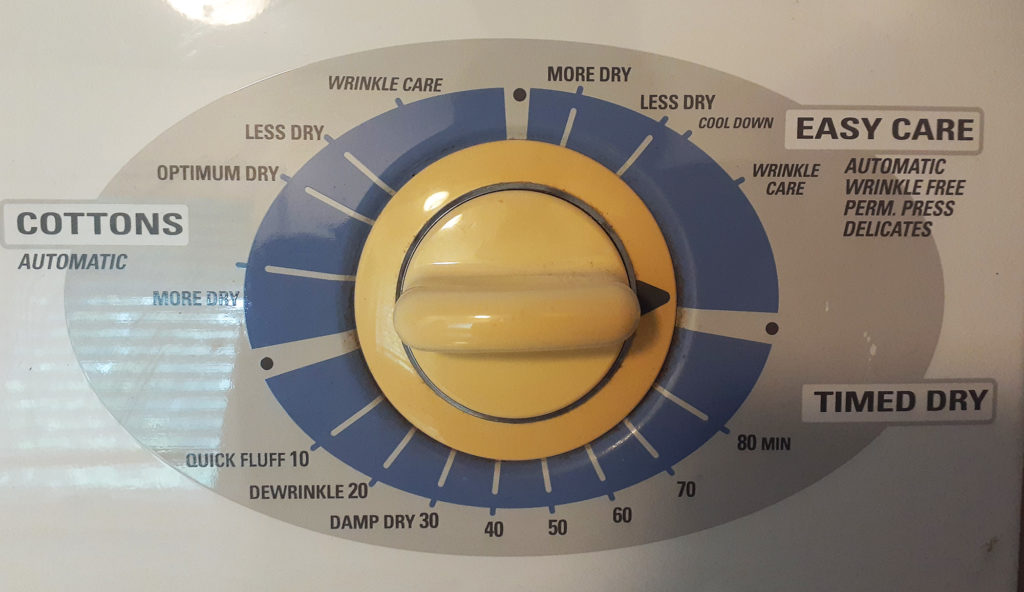 アメリカの乾燥機のボタン